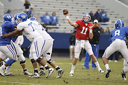 Quarterback Maxwell Smith completed 29-45 passes during the inter-squad game. UK Blue/White Football game 2012, Saturday, April 21, 2012 at the Commonwealth Stadium in Lexington.