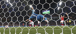 SOCHI, July 7, 2018  Andrej Kramaric (1st R) of Croatia heads the ball to score during the 2018 FIFA World Cup quarter-final match between Russia and Croatia in Sochi, Russia, July 7, 2018. Croatia won 6-5 (4-3 in penalty shootout) and advanced to the semi-finals. (Credit Image: © Cao Can/Xinhua via ZUMA Wire)