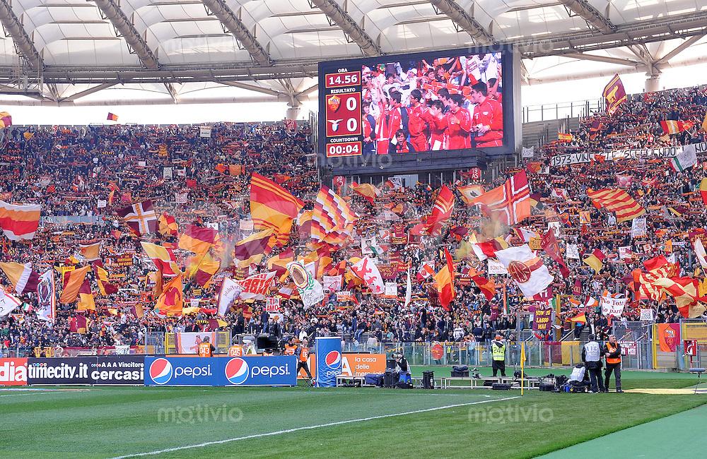 Fussball Serie A Lazio Rom Fankurve Mit Fahnen Sportfotos