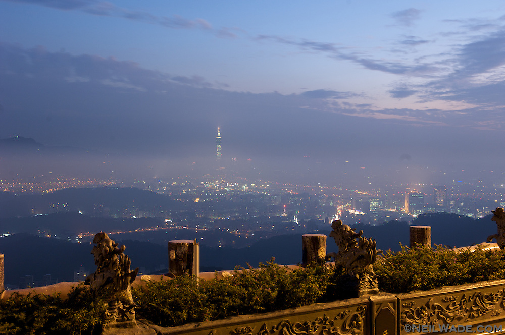 Taipei 101 and the Taipei City Sklyline as seen from a nearby mountain temple.