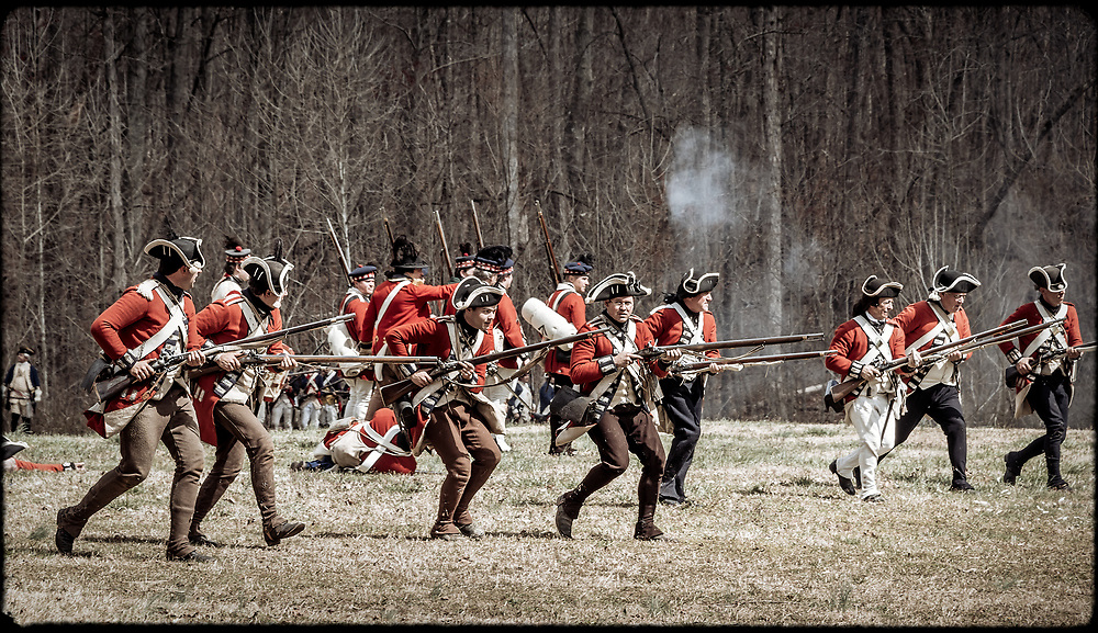British Regulars advance across the field of battle at the 2017 Battle of Guilford Courthouse Reenactment.