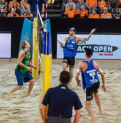 06-01-2019 NED: Dela Beach Open, Den Haag<br /> Netherlands lost the bronze medal from Russia 1-2 /  Alexander Brouwer #1 is busy with the referee after the stolen ball of Ilya Leshukov #1 and lost the rally 14-12.