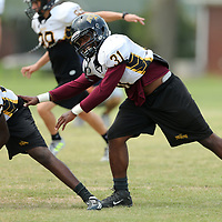 Itawamba AHS linebacker and running back goes through special teams practice drills Friday afternoon in Fulton.