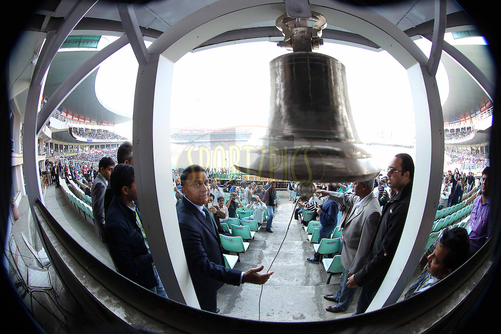Sunil Gavaskar rings the bell during the third One Day International (ODI) between India and England  held at Eden Gardens in Kolkata on the 22nd January 2017<br /> <br /> (Distortion in Image due to it being taken with a fish eye lens)<br /> <br /> Photo by: Deepak Malik / BCCI/ SPORTZPICS