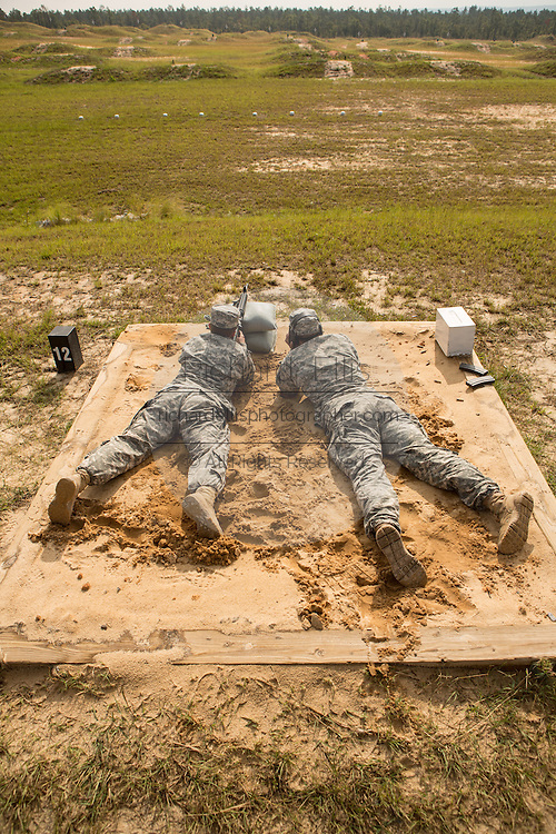 Women Drill Sergeant candidates during a live fire exercise on the range at the US Army Drill Instructors School Fort Jackson Fort Jackson in Columbia, SC. While 14 percent of the Army is women soldiers there is a shortage of female Drill Sergeants.