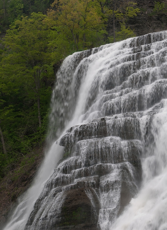 Photograph of the upper portion of Ithaca Falls in Ithaca, NY taken with a slower shutter speed to give water a sense of motion.