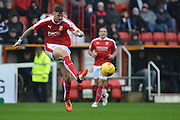 Swindon Town's Ben Gladwin clears the ball during the Sky Bet League 1 match between Swindon Town and Scunthorpe United at the County Ground, Swindon, England on 14 November 2015. Photo by Mark Davies.