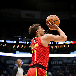 Mar 26, 2019; New Orleans, LA, USA; Atlanta Hawks guard Trae Young (11) shoots against the Atlanta Hawks during the second quarter at the Smoothie King Center. Mandatory Credit: Derick E. Hingle-USA TODAY Sports