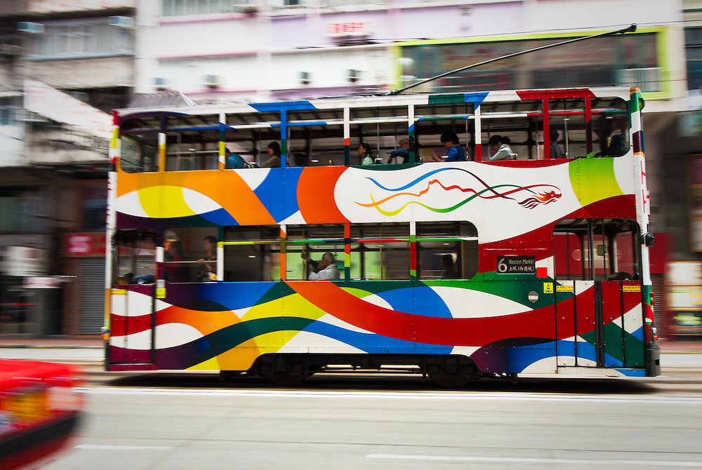 Colourful tram on Hong Kong Island