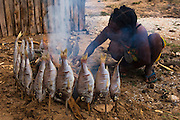 Antandroy woman smoke-drying fish. It has started to rain so these fish caught yesterday can not be sun-dried so they are using smoke to preserve them. Antandroy village of Lavanono. Southern MADAGASCAR