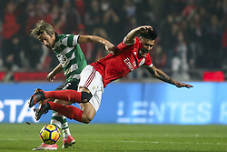January 3, 2018 - Lisbon, Portugal - Sporting's defender Fabio Coentrao (L) vies with Benfica's forward Eduardo Salvio during the Portuguese League  football match between SL Benfica and Sporting CP at Luz  Stadium in Lisbon on January 3, 2018. (Credit Image: © Carlos Costa/NurPhoto via ZUMA Press)