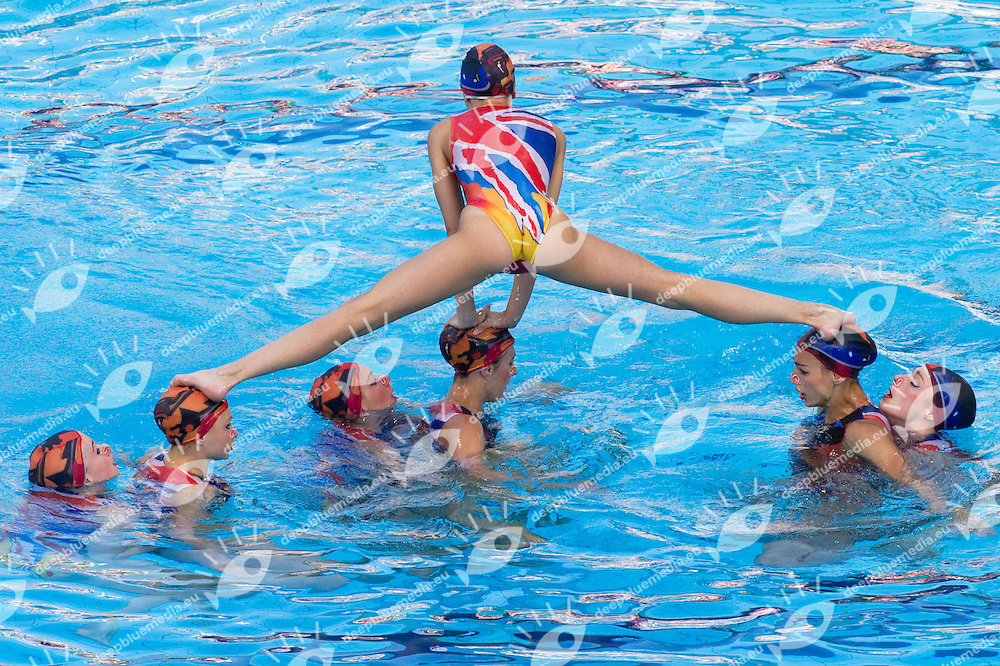 Budapest European Championships 2010.in Swimming, Diving, Synchronised Swimming, Open Water Swimming.Day 4..Syncro Team Free Routine Final..photo: Deepbluemedia.eu