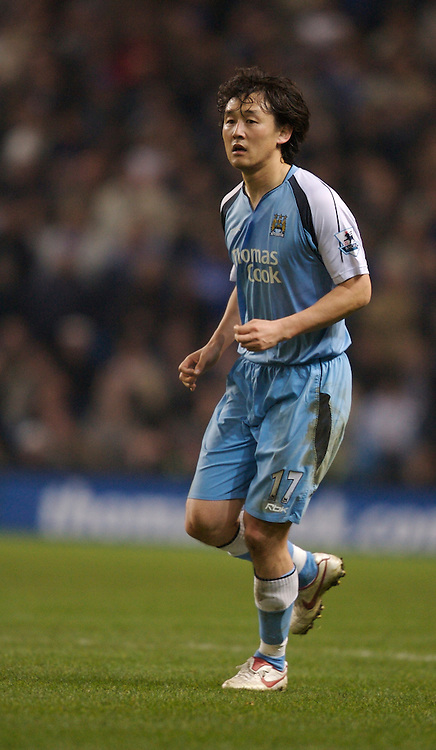 Manchester, England - Wednesday, March 14, 2007: Manchester City's Jihai Sun in action against Chelsea during the Premiership match at the City of Manchester Stadium. (Pic by David Rawcliffe/Propaganda)