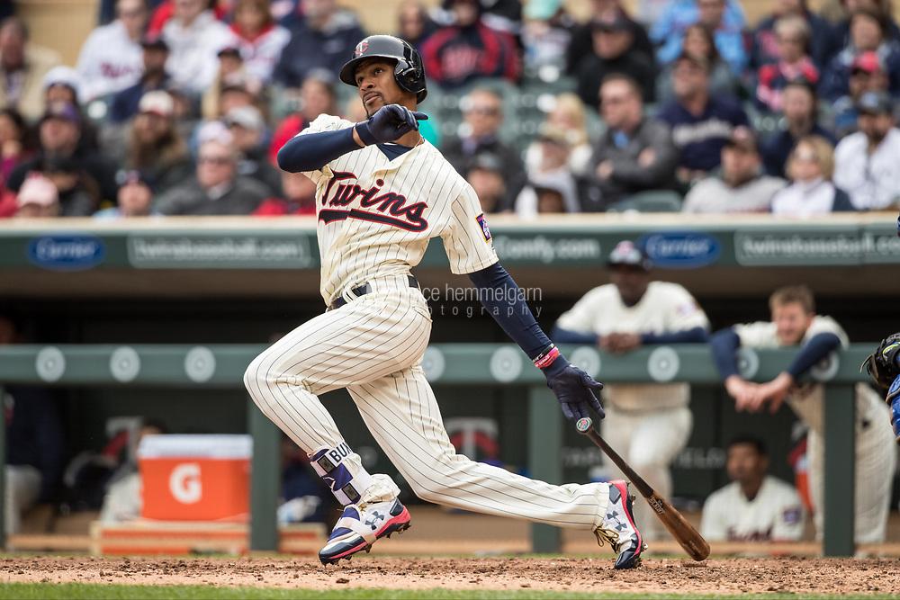 MINNEAPOLIS, MN- APRIL 5: Byron Buxton #25 of the Minnesota Twins bats against the Kansas City Royals on April 5, 2017 at Target Field in Minneapolis, Minnesota. The Twins defeated the Royals 9-1. (Photo by Brace Hemmelgarn) *** Local Caption *** Byron Buxton