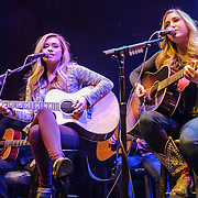 "SILVER SPRING, MD - February 6th, 2014 - Madison Marlow and Taylor Dye, known as the country duo Maddie and Tae, perform at WMZQ's Stars and Guitars concert at the Fillmore Silver Spring in Silver Spring, MD. The duo's stereotype-defying song ""Girl in a Country Song"" reached #1 on the Billboard Country Airplay chart after a 23 week climb. (Photo by Kyle Gustafson / For The Washington Post)"