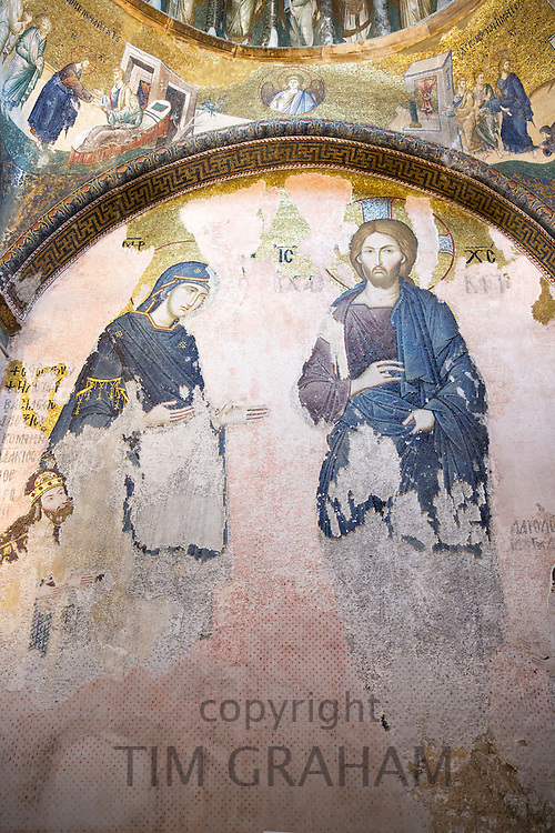 Church of St Saviour in Chora, Kariye Museum St Savior mosaic of Virgin Mary with The Chalkite Christ, Istanbul, Turkey Republic