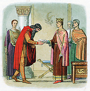 Henry II (1133-89) first Plantagenet king of England from 1154; Henry authorising Diarmaid, banished king of Leinster, to levy forces from among the English. Colour-printed wood engraving c1860.