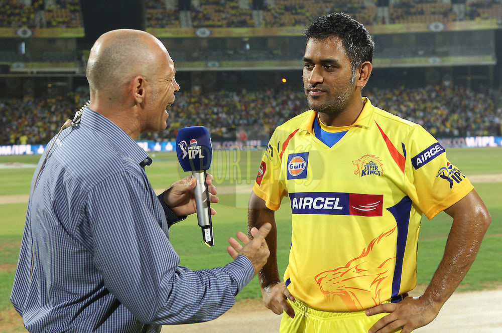 Danny Morrisson interviewed MS Dhoni before the toss during match 64 of the Pepsi Indian Premier League between The Chennai Superkings and the Delhi Daredevils held at the MA Chidambaram Stadium in Chennai on the 14th May 2013..Photo by Ron Gaunt-IPL-SPORTZPICS   .. .Use of this image is subject to the terms and conditions as outlined by the BCCI. These terms can be found by following this link:..http://www.sportzpics.co.za/image/I0000SoRagM2cIEc