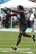 Sunday, October 13, 2019; Miami Gardens, FL USA;  Miami Dolphins free safety Reshad Jones (20) catches a ball during pregame warmups prior to an NFL game against Washington at Hard Rock Stadium. The Redskins beat the Dolphins 17-16. (Kim Hukari/Image of Sport)