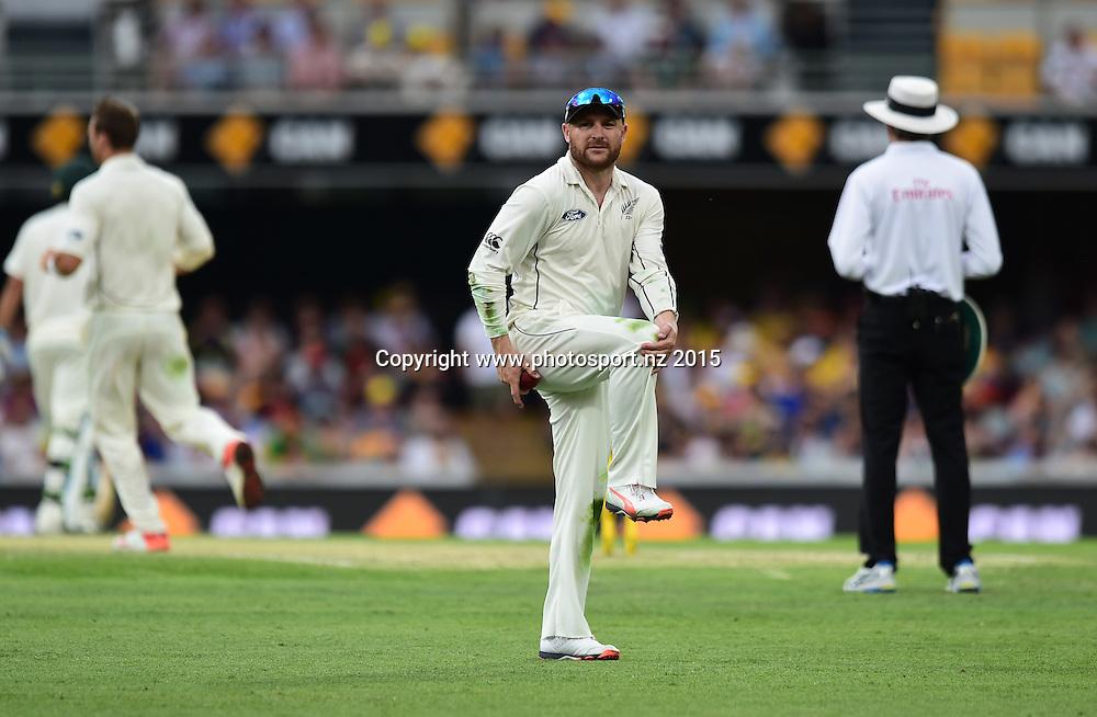 Brendon McCullum stretches during Day Three, 7 November 2015. New Zealand Black Caps tour of Australia, 1st test at Brisbane 5-9 November 2015. Copyright photo: www.photosport.nz