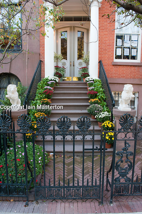 Entrance to apartment building in Chelsea district of Manhattan New York City