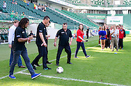 (L-R) Andrzej Szarmach & Christian Karembeu - Special Olympics Ambassador  former French soccer player and current scout for Arsenal Football Club & Tomasz Hajto & Michal Zewlakow - former soccer player and Special Olympics Abassador & Roman Kosecki - Special Olympics Ambassador and former Polish soccer player while final soccer match SO Serbia (red) and SO Romania (white) during the 2013 Special Olympics European Unified Football Tournament in Warsaw, Poland.<br /> <br /> Poland, Warsaw, June 08, 2012<br /> <br /> Picture also available in RAW (NEF) or TIFF format on special request.<br /> <br /> For editorial use only. Any commercial or promotional use requires permission.<br /> <br /> <br /> Mandatory credit:<br /> Photo by © Adam Nurkiewicz / Mediasport