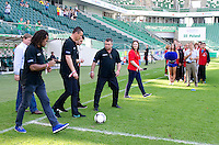 (L-R) Andrzej Szarmach &amp; Christian Karembeu - Special Olympics Ambassador  former French soccer player and current scout for Arsenal Football Club &amp; Tomasz Hajto &amp; Michal Zewlakow - former soccer player and Special Olympics Abassador &amp; Roman Kosecki - Special Olympics Ambassador and former Polish soccer player while final soccer match SO Serbia (red) and SO Romania (white) during the 2013 Special Olympics European Unified Football Tournament in Warsaw, Poland.<br /> <br /> Poland, Warsaw, June 08, 2012<br /> <br /> Picture also available in RAW (NEF) or TIFF format on special request.<br /> <br /> For editorial use only. Any commercial or promotional use requires permission.<br /> <br /> <br /> Mandatory credit:<br /> Photo by &copy; Adam Nurkiewicz / Mediasport