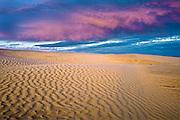 Ripples and sand dunes at sunset<br /> Great Sand Hills<br /> Saskatchewan<br /> Canada