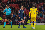 Scotland's Captain Steven Naismith (C) (Heart of Midlothian) has a word with the Kazakhstan bench during the UEFA European 2020 Qualifier match between Scotland and Kazakhstan at Hampden Park, Glasgow, United Kingdom on 19 November 2019.