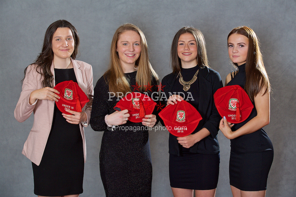 NEWPORT, WALES - Saturday, May 21, 2016: Chloe Griffiths, Aimee Watson, Ffion Morgan, Lily Woodham at the Under-16's cap presentation at the Celtic Manor Resort. (Pic by David Rawcliffe/Propaganda)