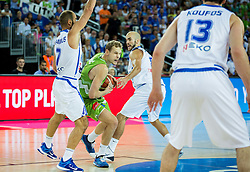 Jaka Blazic of Slovenia between Vassilis Spanoulis of Greece and Nick Calathes of Greece during basketball match between Slovenia vs Greece at Day 5 in Group C of FIBA Europe Eurobasket 2015, on September 9, 2015, in Arena Zagreb, Croatia. Photo by Vid Ponikvar / Sportida