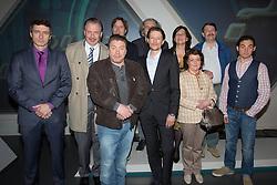 18.04.2016, WDR Studios, Koeln, GER, TV Komoedie, Ein Schnitzel geht immer, Fototermin, im Bild Gruppenbild mit Ludger Pistor (Schauspieler, als Wolfgang Krettek) (2.v.l.) und Armin Rhode (Schauspieler, als Guenther Kuballa) (3.v.l.) und die gesamte Produktions-Crew // during a photocall of german TV comedy 'Ein Schnitzel geht immer' at the WDR Studios in Koeln, Germany on 2016/04/18. EXPA Pictures © 2016, PhotoCredit: EXPA/ Eibner-Pressefoto/ Deutzmann<br /> <br /> *****ATTENTION - OUT of GER*****