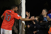 Brighton & Hove Albion centre forward Tomer Hemed (10) shakes fans hands at the end of the EFL Sky Bet Championship match between Fulham and Brighton and Hove Albion at Craven Cottage, London, England on 2 January 2017.