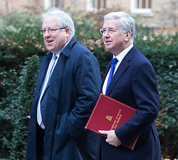Downing Street, London, January 17th 2017. Chancellor of the Duchy of Lancaster Patrick McLoughlin (left) and Defence Secretary Michael Fallon arrive at the weekly cabinet meeting at 10 Downing Street.
