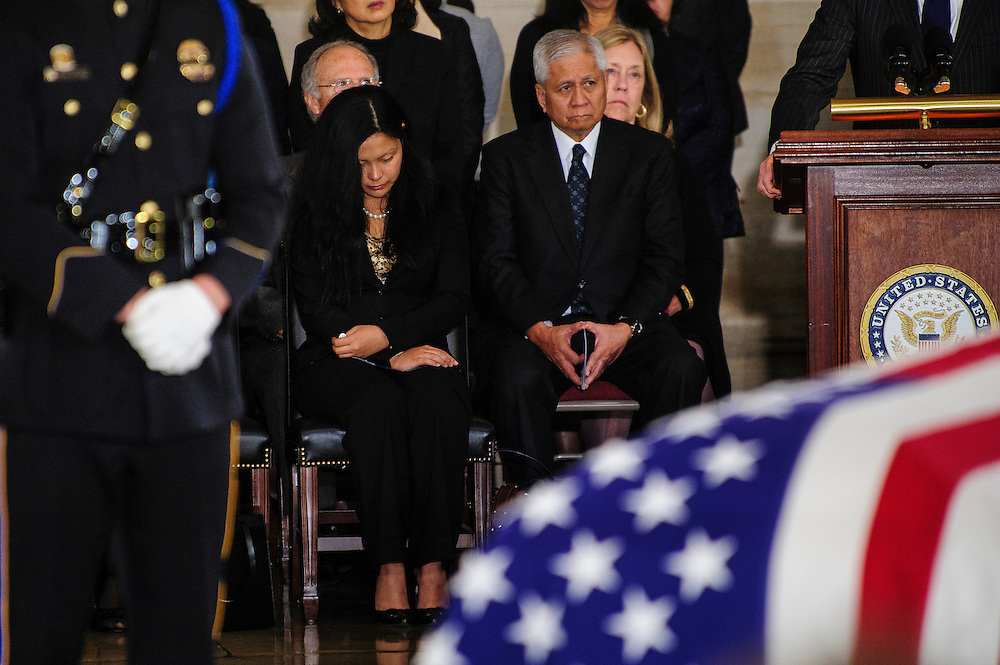 Family members of Senator Daniel Inouye (D-HI) listen to speakers on Thursday during a service and public viewing of the late Senator who passed away at the age of 88 on December 18 at the Walter Reed National Military Medical Center in Bethesda, Md. Inouye, 88, a decorated World War II veteran and the second-longest serving senator in history will lie in state until Friday when a memorial service will be held at the National Cathedral.