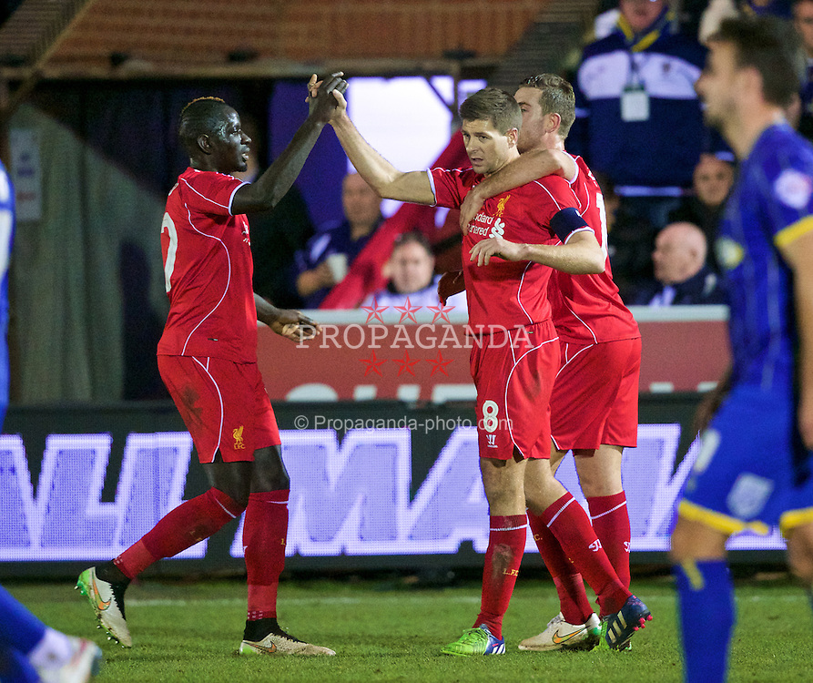 KINGSTON-UPON-THAMES, ENGLAND - Monday, January 5, 2015: Liverpool's captain Steven Gerrard celebrates scoring the second goal against  AFC Wimbledon during the FA Cup 3rd Round match at the Kingsmeadow Stadium. (Pic by David Rawcliffe/Propaganda)