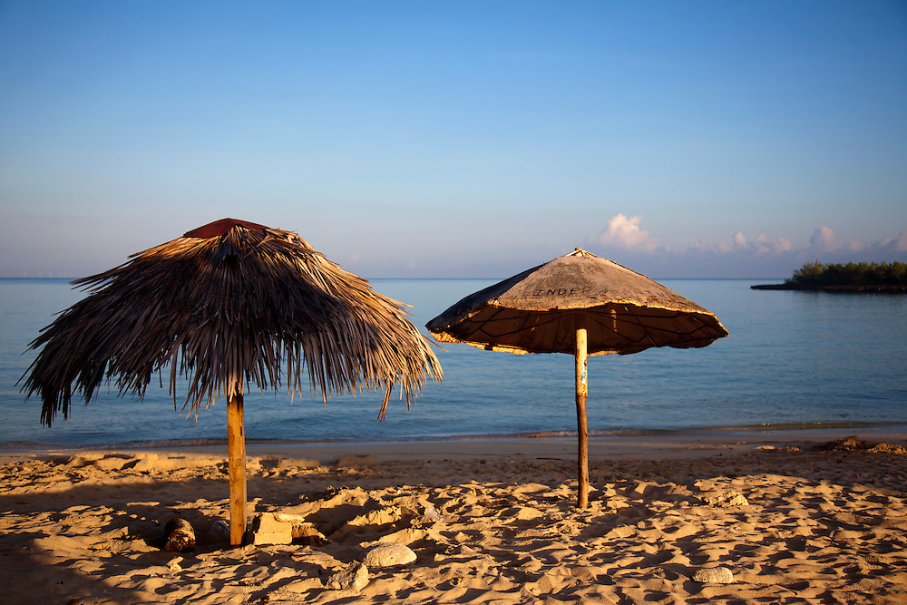 Palapas in Playa Blanca, Holguin, Cuba.