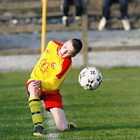 Avenue's Billy Slattery gets his shot away just before it crosses the touchline<br />Photograph by Flann Howard