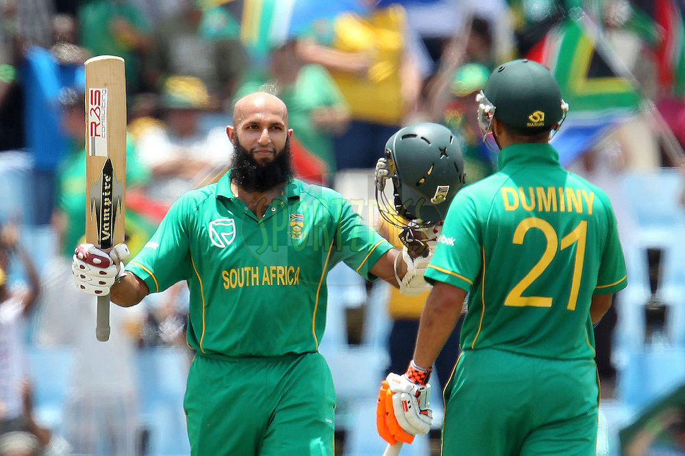 Hashim Amla of South Africa  makes his century during the 5th ODI between South Africa and India held at Supersport Park in Centurion, Gauteng, South Africa on the 23rd January 2011..Photo by Ron Gaunt/BCCI/SPORTZPICS