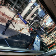 Inside the skywalk between the Muehlebach and Marriott Hotels.