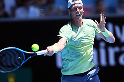 MELBOURNE, Jan. 22, 2018  Tomas Berdych of the Czech Republic returns a shot during the men's singles fourth round match against Fabio Fognini of Italy at Australian Open 2018 in Melbourne, Australia, Jan. 22, 2018. Tomas Berdych won 3-0. (Credit Image: © Li Peng/Xinhua via ZUMA Wire)