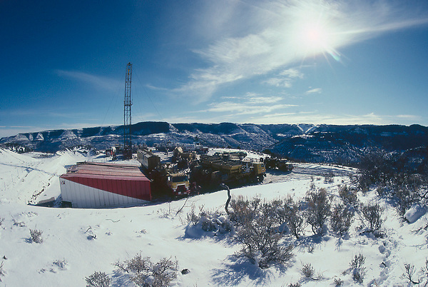 Stock photo of a snow covered CO2 fracking operation