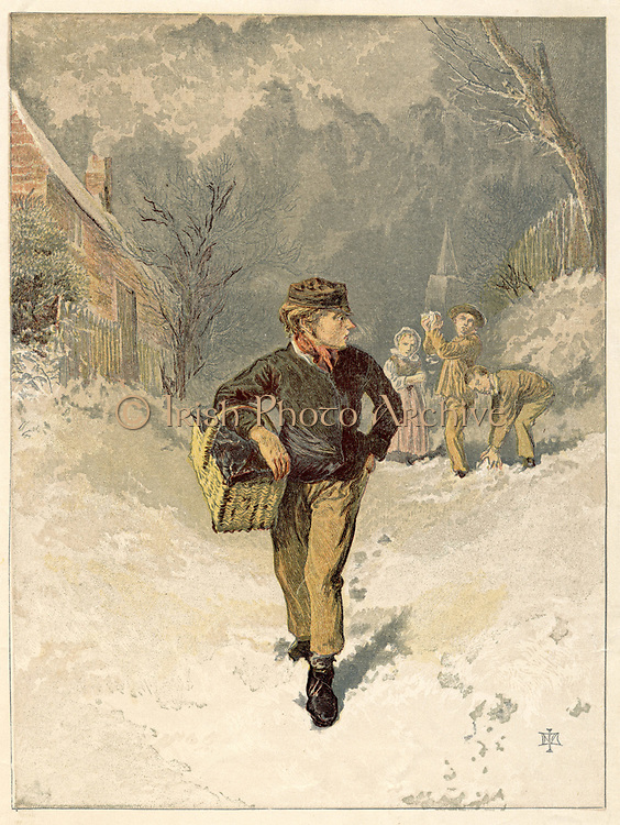 The Doctor's Boy:  Errand boy on his way to deliver medicines on a winter's day. Coatless and gloveless and nose red from cold, he is a target for snowballs thrown by children who can play rather than work.  Colour-printed engraving London 1866.