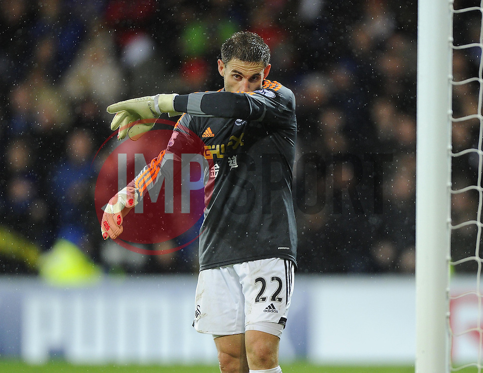 Swansea City's Angel Rangel takes the place of Swansea City's Michel Vorm in goal after Vorm was sent off for his could on Cardiff City's Fraizer Campbell - Photo mandatory by-line: Joe Meredith/JMP - Tel: Mobile: 07966 386802 03/11/2013 - SPORT - FOOTBALL - The Cardiff City Stadium - Cardiff - Cardiff City v Swansea City - Barclays Premier League