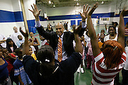 Mayor Cory Booker plays with a group of Newark youth at a community center in 2006.
