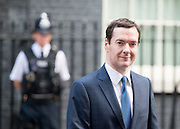 © Licensed to London News Pictures. 19/09/2014. Westminster, UK Chancellor George Osborne on Downing Street  today 19th September 2014 on the morning Scotland voted to stay part of Great Britain after referendum results were counted overnight. Photo credit : Stephen Simpson/LNP