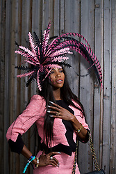 LIVERPOOL, ENGLAND - Thursday, April 6, 2017: Lystra Adams, 40 from Staffordshire, wearing a dress from Moschino and a fascinator from Sally Sharp in Solihull, during The Opening Day on Day One of the Aintree Grand National Festival 2017 at Aintree Racecourse. (Pic by David Rawcliffe/Propaganda)