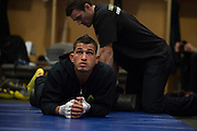 DALLAS, TX - MARCH 14:  UFC lightweight champion Anthony Pettis stretches backstage before fighting Rafael Dos Anjos during UFC 185 at the American Airlines Center on March 14, 2015 in Dallas, Texas. (Photo by Cooper Neill/Zuffa LLC/Zuffa LLC via Getty Images) *** Local Caption *** Anthony Pettis