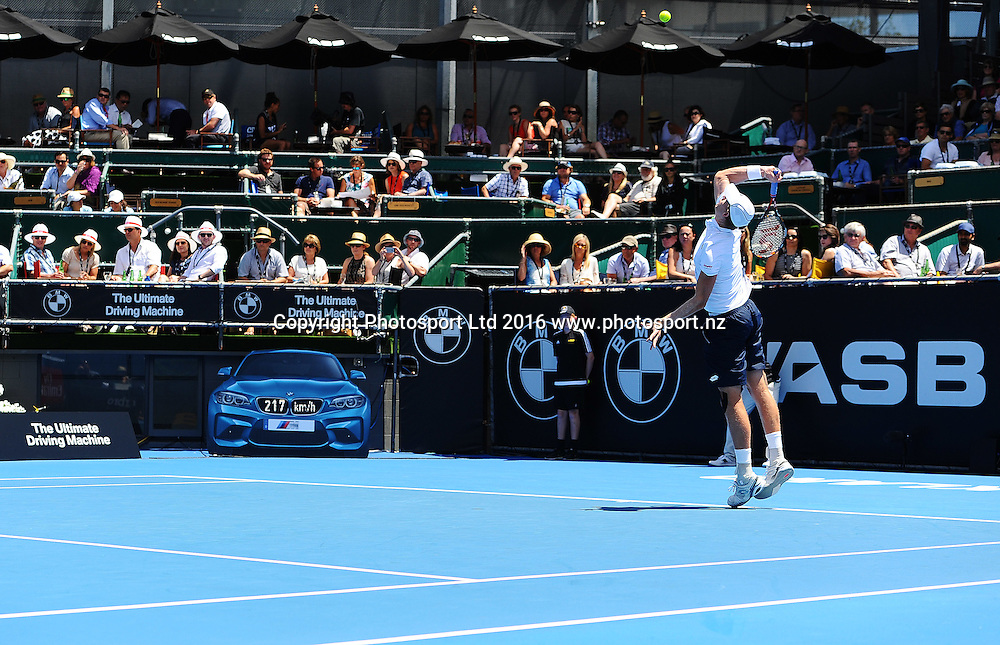 Kevin Anderson (RSA) during Day 3 of the 2016 ASB Classic Mens. ASB Tennis Centre, Auckland, New Zealand. Wednesday 13 January 2016. Copyright Photo: Chris Symes / www.photosport.nz