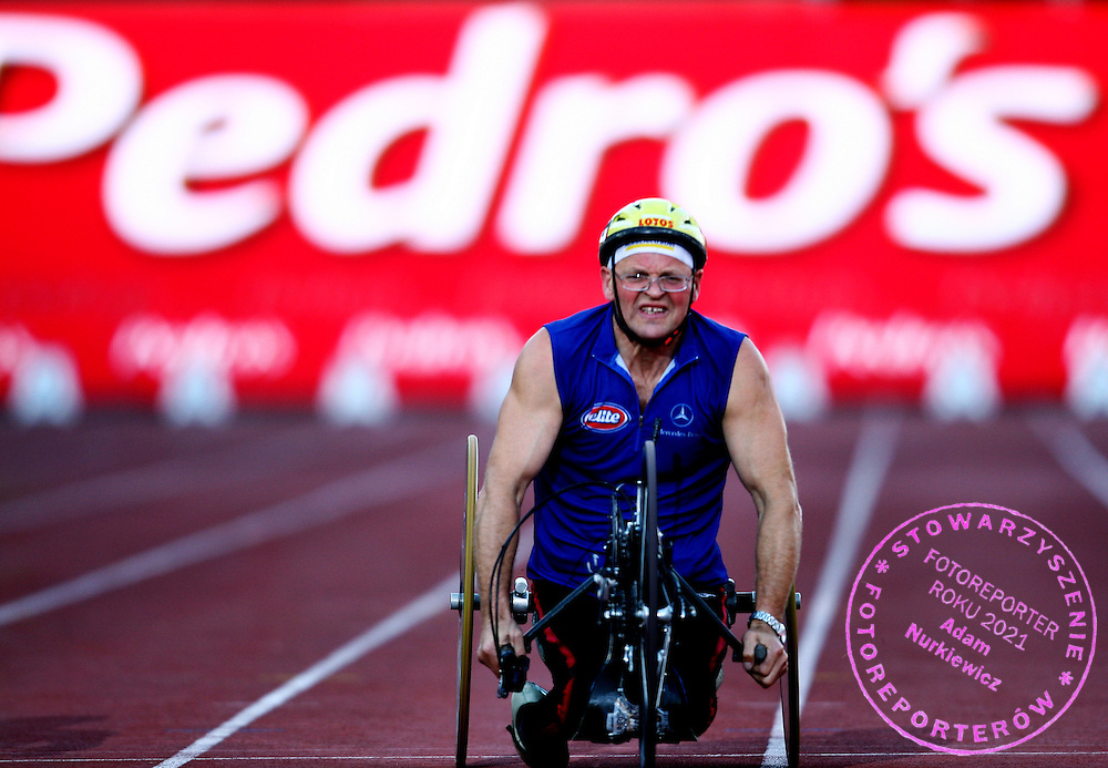 WHEELCHAIR RUN DURING ATHLETICS MEETING PEDRO'S CUP WARSAW 2007..WARSAW , POLAND , SEPTEMBER 19, 2007.( PHOTO BY ADAM NURKIEWICZ / MEDIASPORT )..